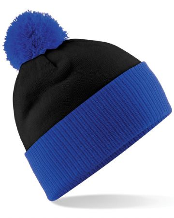 WICK THISTLE FC ADULT BEANIE BLACK/ROYAL BLUE WITH EMBROIDERED LOGO